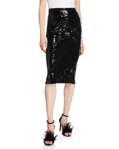 Fitted Sequin Pencil Skirt