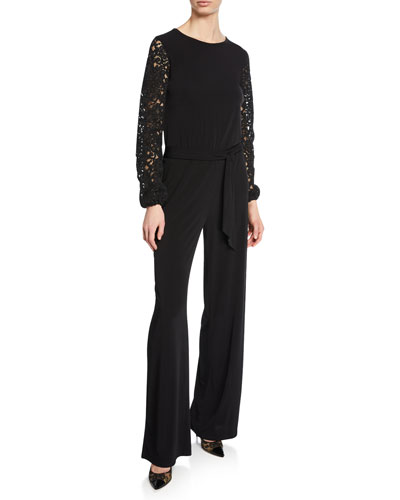Jewel-Neck Lace-Sleeve Jumpsuit with Belted Waist
