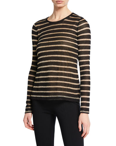 MICHAEL Michael Kors Jewel-Neck Long-Sleeve Striped Top