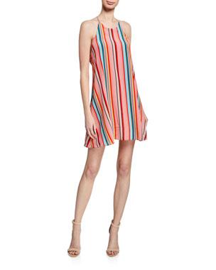 751fa75af129 Alice + Olivia Kalia Striped Halter Tie-Back Mini Dress