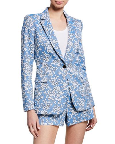 Macey Floral-Print One-Button Blazer