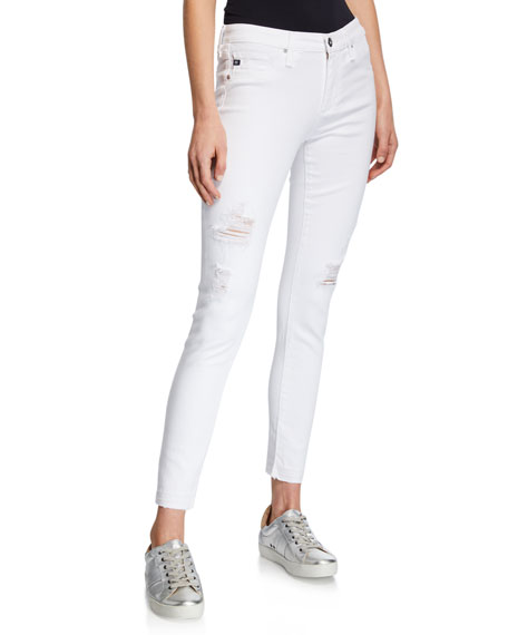 Ag THE LEGGING ANKLE CROPPED DISTRESSED JEANS
