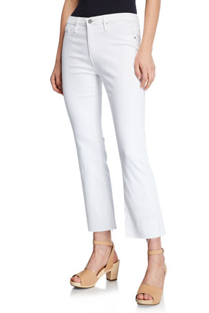 AG Adriano Goldschmied The Jodi Crop Flare-Leg Jeans with Raw Hem