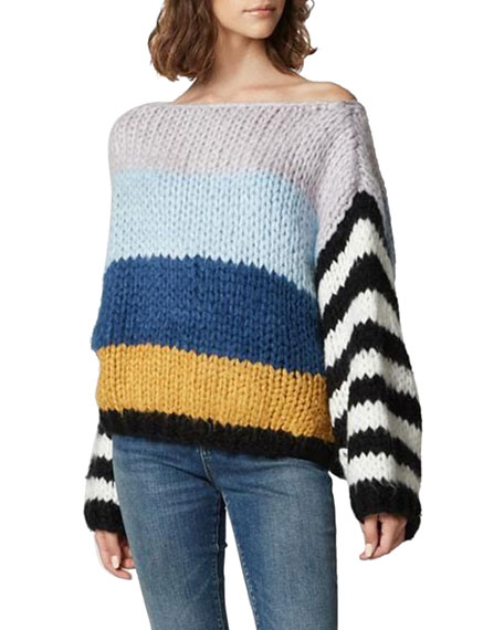 Blanknyc MIXED SIGNALS CHUNKY KNIT STRIPED SWEATER