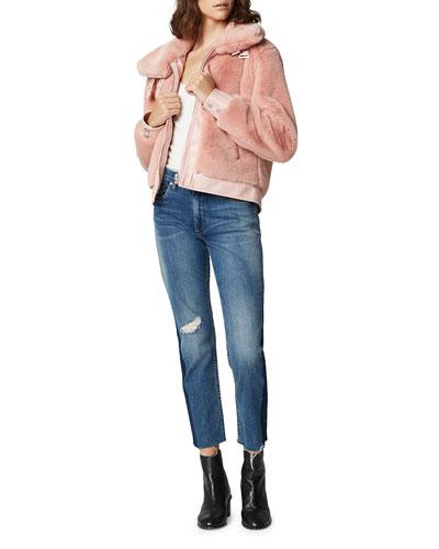 Internet Hobo Faux-Fur Cropped Bomber Jacket