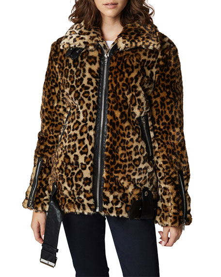 Blank Nyc Note To Self Leopard Print Faux Fur Jacket