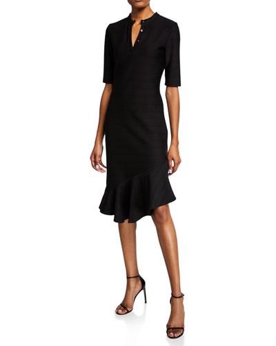 Adria Elbow-Sleeve Dress with Flounce Hem