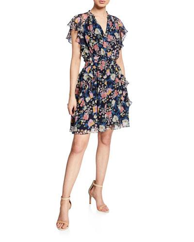 Venezia Floral-Print Ruffled Silk Dress