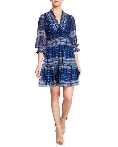 Azzura Print V-Neck 3/4-Sleeve A-Line Dress