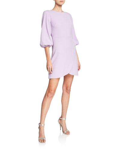 Garda Crewneck Blouson-Sleeve Cocktail Dress