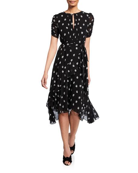 Shoshanna Dresses SAVONA PRINTED JEWEL-NECK SHORT-SLEEVE DRESS