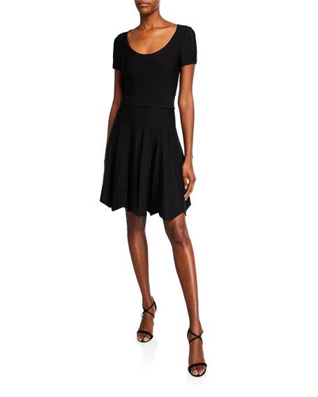 Shoshanna Dresses JONETTA SCOOP-NECK TEXTURED-KNIT FIT-AND-FLARE DRESS