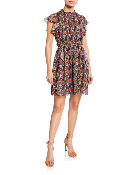 Shoshanna Dresses AMORA FLORAL-PRINT CAP-SLEEVE RUFFLE MINI DRESS