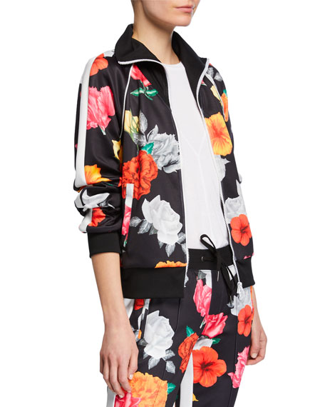 Pam & Gela FRESH-CUT FLORAL-PRINT ZIP-FRONT TRACK JACKET