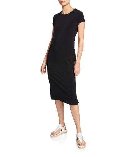 Devia Short-Sleeve Jersey Tunic Dress w/ Side Zippers
