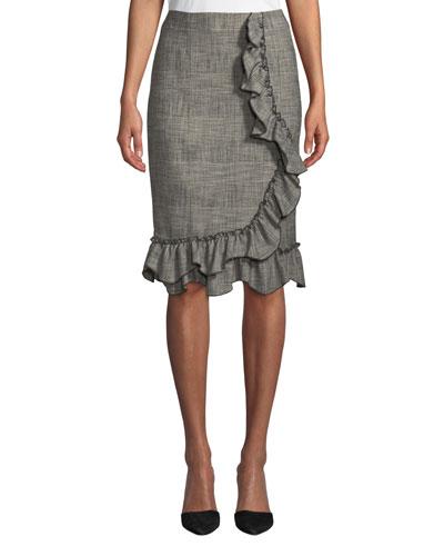 Knee-Length Plaid Skirt with Ruffle Trim