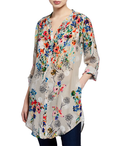 Chloe Long Floral Silk Tunic  Plus Size