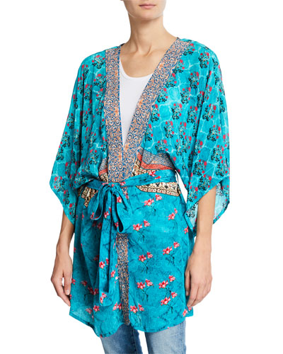 Mona Tie-Front Kimono Jacket  Plus Size