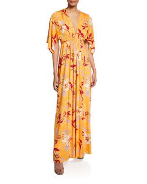 82b56c287c14e Rachel Pally Plus Size Floral-Print V-Neck Kimono-Sleeve Caftan Dress