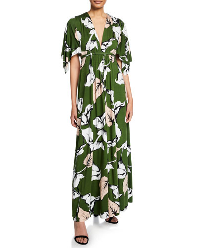 Plus Size Long Floral-Print Jersey Caftan Dress