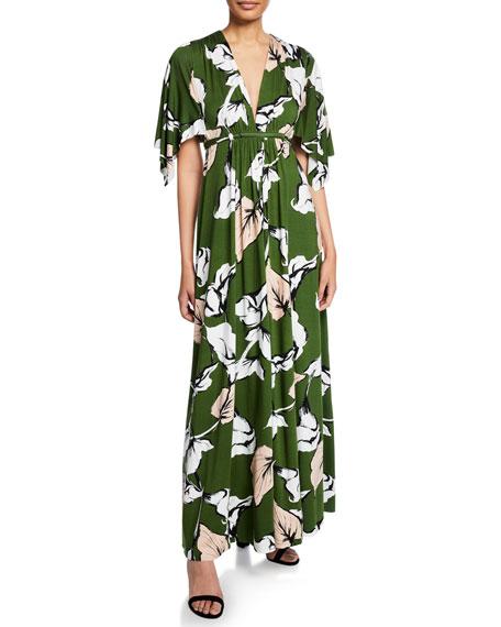 RACHEL PALLY Long Floral-Print Jersey Caftan Dress, Plus Size in Calla Print