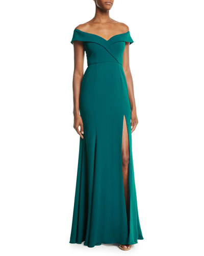 Off-the-Shoulder Crepe Gown w/ Front Slit