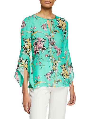 Rubie Split-Neck 3/4 Flared-Sleeve Floral-Print Silk Blouse