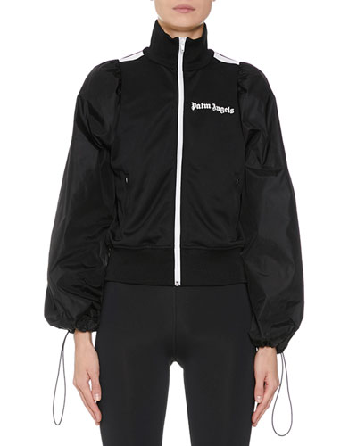 Balloon-Sleeve Zip-Front Logo Track Jacket
