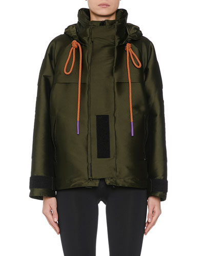 Sleek Funnel-Neck Hooded Parka Jacket