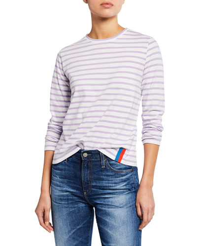 The Modern Long Striped Crewneck Cotton Top