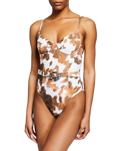 Danielle Cowhide-Print Belted One-Piece Swimsuit
