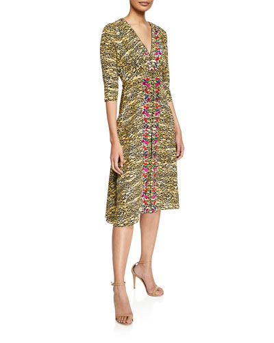 Eve Tiger-Print V-Neck Silk A-Line Dress