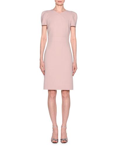 Short-Sleeve Wool Crepe V-Neck Dress  Pink