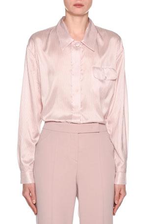 Giorgio Armani Striped Silk Button-Front Blouse