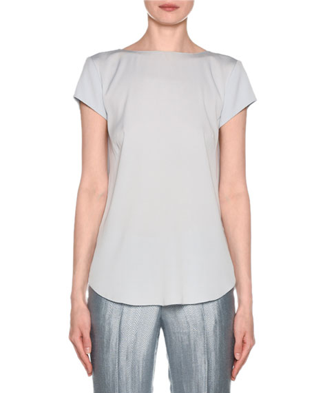 Giorgio Armani SHORT-SLEEVE CRISSCROSS BACK SILK BLOUSE