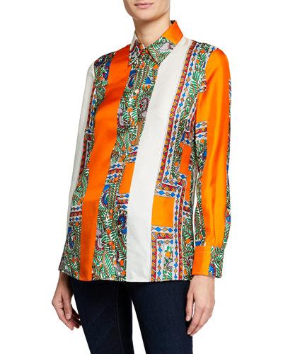 Printed Silk Long-Sleeve Button-Down Shirt