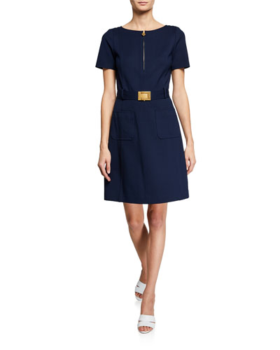 Short-Sleeve Belted Fit-and-Flare Ponte Dress