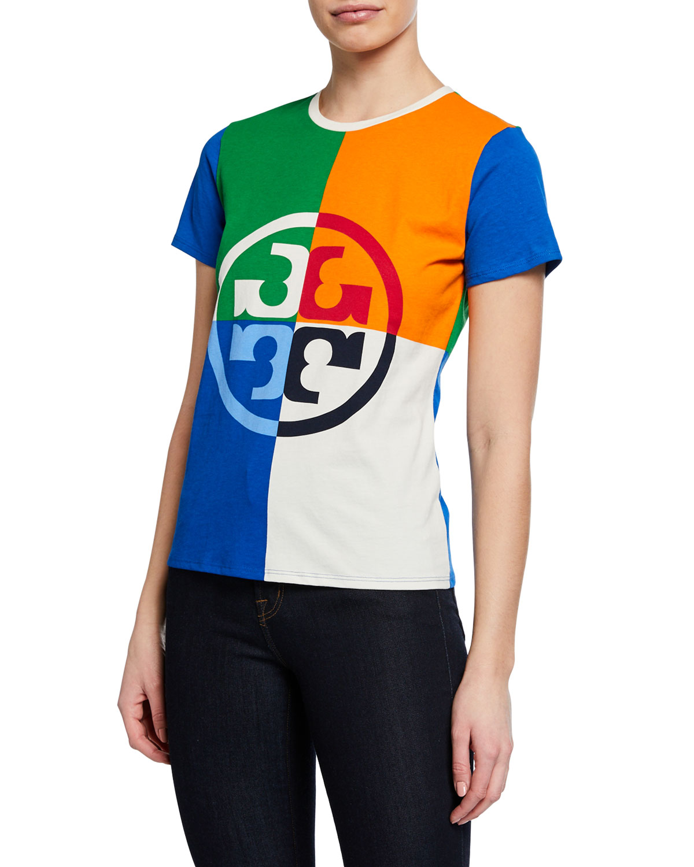 b0ac075f5d27 Tory Burch Colorblock Logo-Print Short-Sleeve T-Shirt