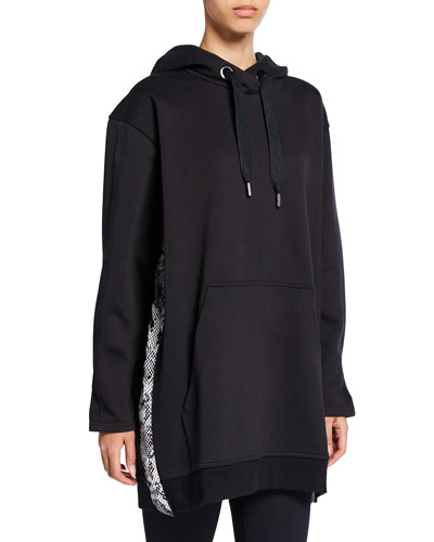 Oversized Pullover Hoodie w/ Snake-Print Sides