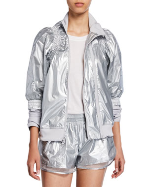 sports shoes f0591 0408f adidas by Stella McCartney Metallic Zip-Front Running Jacket