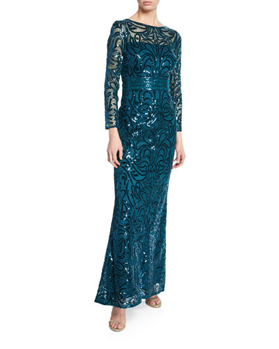 Sequin Bateau-Neck Long-Sleeve Gown with Sheer Yoke