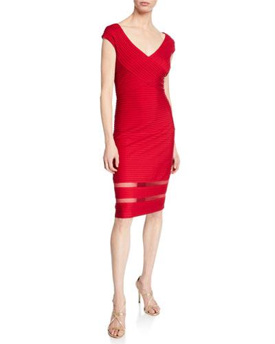 V-Neck Cap-Sleeve Pintuck Sheath Dress w/ Mesh Insets