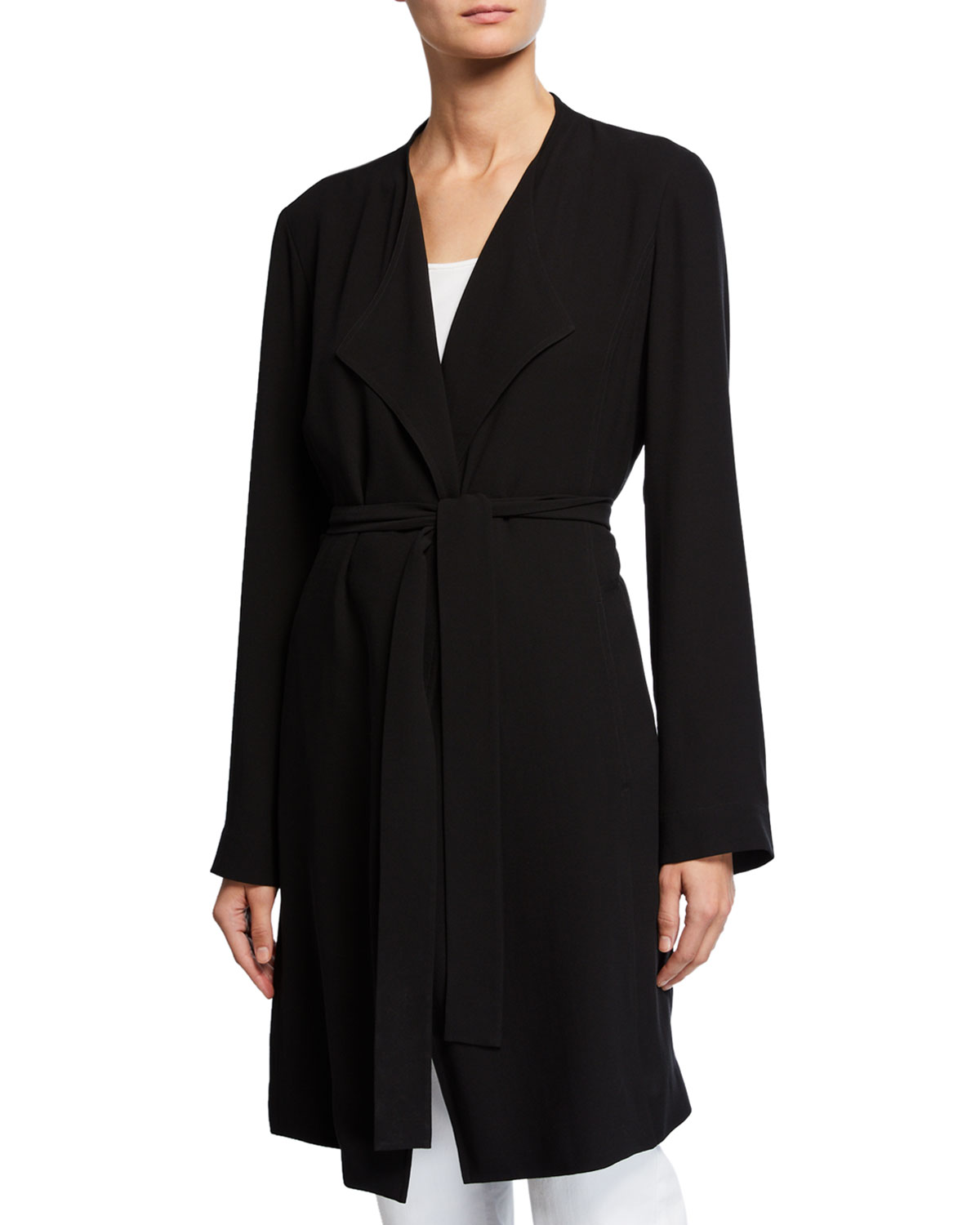 52ffb1d31cd Eileen Fisher Silk Crepe Belted Trench Jacket