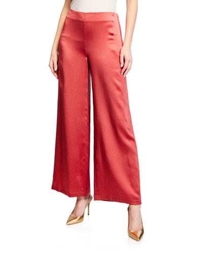 Wide-Leg Hammered Silk Side Zip Pants