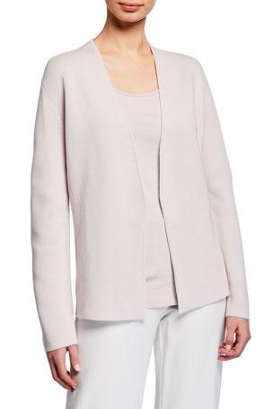 Eileen Fisher Shaped Silk/Organic Cotton Interlock Cardigan