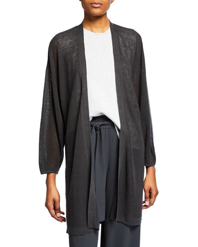 Organic Linen Blouson-Sleeve Long Cardigan  Petite