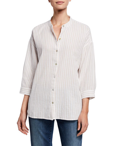 Petite Striped Button-Front Shirt