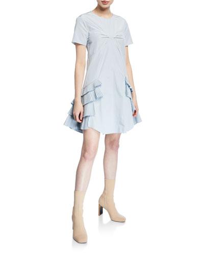 Cotton-Blend Ruffle Dress