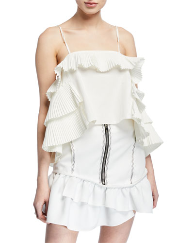 Tiered-Ruffle Square-Neck Camisole