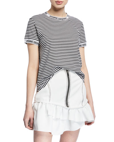 Stripe T-Shirt with Logo Graphic on Neck and Cuffs